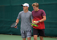 Finn Tearney & Isaac Becroft. 2019 Wellington Tennis Open at Renouf Centre in Wellington, New Zealand on Thursday, 19 December 2019. Photo: Dave Lintott / lintottphoto.co.nz