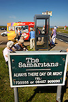 One of the UK's most famous landmarks the cliff face at Beachy Head on the South Downs is also notorious as a suicide spot. Samaritan contact details surround the telephone kiosk and inside the kiosk to help wouldbe leapers.