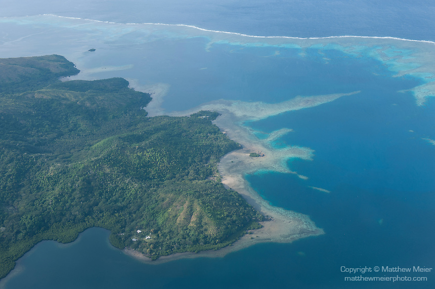 Vanua Levu, Fiji; aerial view of coral reefs while flying from Viti Levu to Taveuni