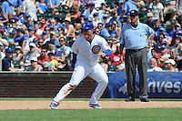 Chicago Cubs first baseman Anthony Rizzo #44 leads off first during a game against the Arizona Diamondbacks at Wrigley Field on July 15, 2012 in Chicago, Illinois. The Cubs defeated the Diamondbacks 3-1. (Tony Farlow/Four Seam Images).
