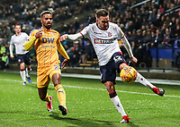 Bolton Wanderers' Craig Noone competing with Wigan Athletic's Nathan Byrne<br /> <br /> Photographer Andrew Kearns/CameraSport<br /> <br /> The EFL Sky Bet Championship - Bolton Wanderers v Wigan Athletic - Saturday 1st December 2018 - University of Bolton Stadium - Bolton<br /> <br /> World Copyright © 2018 CameraSport. All rights reserved. 43 Linden Ave. Countesthorpe. Leicester. England. LE8 5PG - Tel: +44 (0) 116 277 4147 - admin@camerasport.com - www.camerasport.com