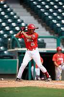 Canadian Junior National Team Cesar Valero (25) at bat during a Florida Instructional League game against the Atlanta Braves on October 9, 2018 at the ESPN Wide World of Sports Complex in Orlando, Florida.  (Mike Janes/Four Seam Images)