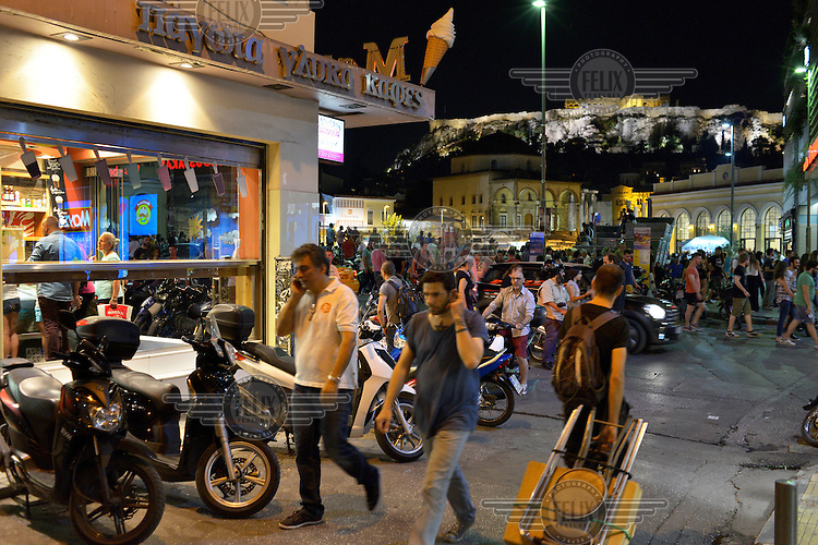 People in the popular tourist district of Monastiraki on the day before a national referendum to acceptance or reject economic reforms demanded by the country's creditors. The outcome could determine whether or not Greece remains in the Eurozone and if it will continue to receive further financial assistance from the 'Troika' of the IMF, EU and European Central Bank.