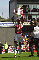 Premiership Football - Arsenal v Leicester City:.2003/04 Season - 15/05/2004  [Record breaking Season undefeated] .Patrick Viera shows the Cup to the supporters.[Credit] Peter Spurrier Intersport Images