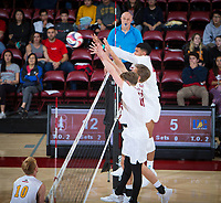 STANFORD, CA - January 5, 2019: Jordan Ewert, Stephen Moye, Jaylen Jasper at Maples Pavilion. The Stanford Cardinal defeated UC Santa Cruz 25-11, 25-17, 25-15.