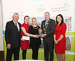 WITH COMPLIMENTS.  Attending the  Entrepreneur of the Year 2016 in the  Limerick Final of the National Enterprise Awards at a ceremony in the Dunraven Arms Hotel, Adare were Cllr. Liam Galvin, Mayor of Limerick City and County Council who presented the award to  Trin O&rsquo;Brien and B.J. Broderick of Wellnice Pops, Athlacca winner of the Innovation award.  Also in the photographare Eamon Ryan, Head of Enterprise, Local Enterprise Office Limerick(left)  and Ciara Finley, Local Enterprise Office Limerick(right). Innovation - Wellnice Pops is the brainchild of Limerick friends Caitr&iacute;n O&rsquo;Brien &amp; BJ Broderick. Caitr&iacute;n and BJ met over 12 years ago, while working in Dolan&rsquo;s Pub and Restaurant. Caitr&iacute;n is a qualified mechanical engineer while BJ is a qualified Nutrition &amp; Health Coach. In 2015, they approached LEO Limerick who offered them a mentor, guided their business through the development stages, and provided them with a priming grant, training and advice. Wellnice Pops are currently on a trial with 19 Supervalu&rsquo;s across the country, as well as regularly supplying summer festivals and health shops. Wellnice Pops are 100% vegetable &amp; fruit juice ice pops. They are the first of their kind in Ireland, providing a 100% natural ice pop. Wellnice Pops hope to start exporting to international markets in the future<br /> Photograph Liam Burke/Press 22