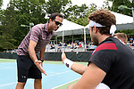 CHAPEL HILL, NC - MAY 13: South Carolina head coach Josh Goffi and Gabriel Friedrich (BRA) (right). The University of North Carolina Tar Heels hosted the University of South Carolina Gamecocks on May 13, 2017, at The Cone-Kenfield Tennis Center in Chapel Hill, NC in an NCAA Division I Men's College Tennis Tournament second round match. UNC won 4-1.