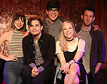 "Krista Rodriguez, Andy Mientus, George Salazar, Lauren Marcus and Nick Blaemire from the cast of ""The Jonathan Larson Project"" during the press preview on October 3, 2018 at Feinstein's/54 Below in New York City."