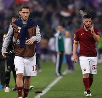 Calcio, Europa League: Ritorno degli ottavi di finale Roma vs Fiorentina. Roma, stadio Olimpico, 19 marzo 2015.<br /> Roma's Francesco Totti, left, and Daniele Verde leave at the end of the Europa League round of 16 second leg football match between Roma and Fiorentina at Rome's Olympic stadium, 19 March 2015. Fiorentina won 3-0.<br /> UPDATE IMAGES PRESS/Isabella Bonotto