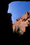 Canyon wall as seen from Double Arch Alcove, Taylor Creek trail, Kolob Canyons, Zion National Park, UTAH