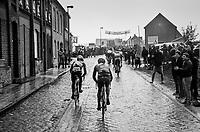 first (wet) cobbles of the day for the breakaway group over the Lippenhovestraat<br /> <br /> 102nd Ronde van Vlaanderen 2018 (1.UWT)<br /> Antwerpen - Oudenaarde (BEL): 265km