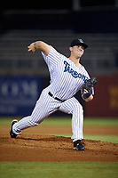 Tampa Tarpons starting pitcher Shawn Semple (9) delivers a pitch during the second game of a doubleheader against the Lakeland Flying Tigers on May 31, 2018 at George M. Steinbrenner Field in Tampa, Florida.  Lakeland defeated Tampa 3-2.  (Mike Janes/Four Seam Images)