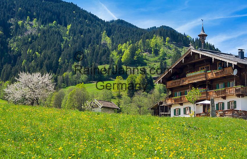Austria, Tyrol, Reith near Kitzbuehel: Tyrolean farmhouse | Oesterreich, Tirol, Reith bei Kitzbuehel: Tiroler Bauernhof