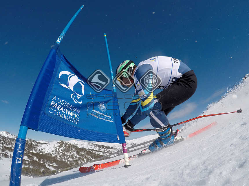 Shaun Pianta / skiing <br /> Australian Paralympic Committee<br /> 2017 Alpine skiing training camp for <br /> 2018 Pyeongchang South Korea Paralympics<br /> Perisher NSW / August 14th 2017<br /> &copy; Sport the library / Jeff Crow