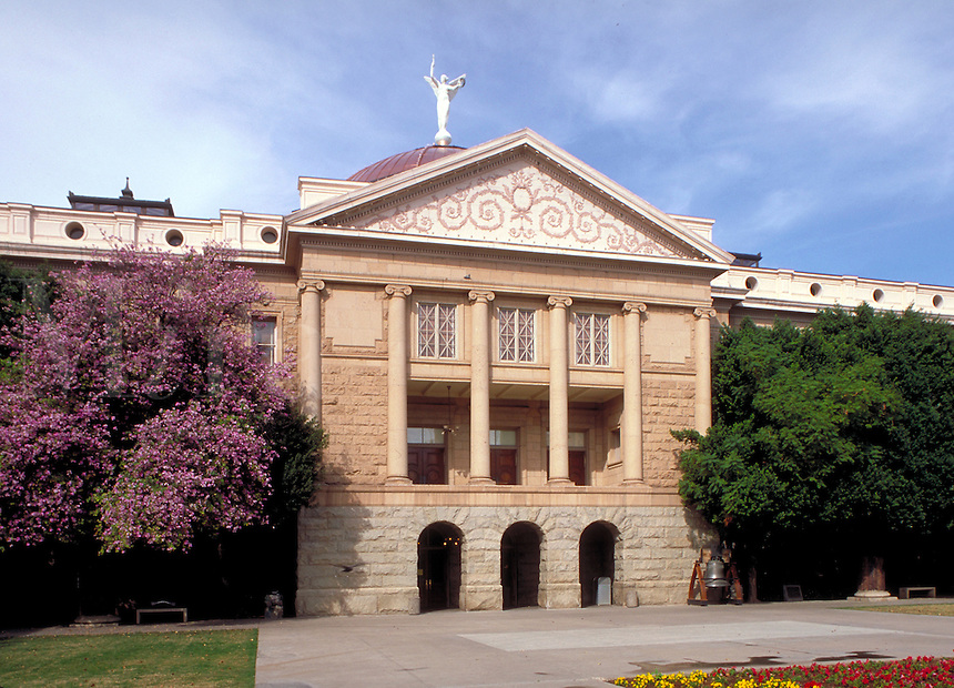 Opened in 1900, the building served as the territorial capitol until 1912 when Arizona became a state. It served as the state capitol until 1974 when a new structure behind this building was opened. Phoenix Arizona USA.