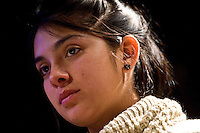 La leader del movimento studentesco Cileno Karol Cariola durante il suo incontro al Caffè Letterario a Roma..Chile's student movement leader, Karol Cariola during a meeting in Rome to talk about the protest against the Student Education Reform in Chile.
