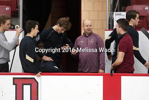 Graham McPhee (BC - 27), Matthew Gaudreau (BC - 21), Chris Calnan (BC - 11), John Hegarty (BC - Director-HockeyOps), Ryan Fitzgerald (BC - 19), Mike Booth (BC - 12) - The Harvard University Crimson defeated the visiting Boston College Eagles 5-2 on Friday, November 18, 2016, at the Bright-Landry Hockey Center in Boston, Massachusetts.