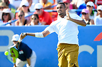 Washington, DC - August 4, 2019: Nick Kyrgios (AUS) returns a serve from Daniil Medvedev (RUS) NOT PICTURED during the Men's finals of the Citi Open at the Rock Creek Tennis Center, in Washington D.C. (Photo by Philip Peters/Media Images International)