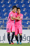Midfielder Mu Kanazaki (L) celebrating his score with Kashima Midfielder Endo Yasushi (R) during the AFC Champions League 2017 Group E match between Ulsan Hyundai FC (KOR) vs Kashima Antlers (JPN) at the Ulsan Munsu Football Stadium on 26 April 2017, in Ulsan, South Korea. Photo by Yu Chun Christopher Wong / Power Sport Images