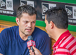 8 June 2013: Minnesota Twins utilityman Jamey Carroll is interviewed by radio play-by-play broadcaster Charlie Slowes prior to a game against the Washington Nationals at Nationals Park in Washington, DC. The Twins edged out the Nationals 4-3 in 11 innings. Mandatory Credit: Ed Wolfstein Photo *** RAW (NEF) Image File Available ***