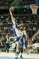Real Madrid´s Gustavo Ayon and Anadolu Efes´s Dogus Balbay during 2014-15 Euroleague Basketball match between Real Madrid and Anadolu Efes at Palacio de los Deportes stadium in Madrid, Spain. December 18, 2014. (ALTERPHOTOS/Luis Fernandez) /NortePhoto /NortePhoto.com