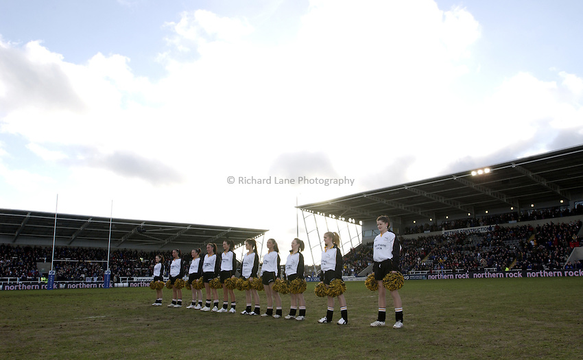 .Photo. Jed Wee.Newcastle Falcons v Harlequins, Zurich Premiership, Kingston Park, Newcastle. 01/02/2003..The Newcastle Falcons officially open their new West stand (R), with cheerleaders.