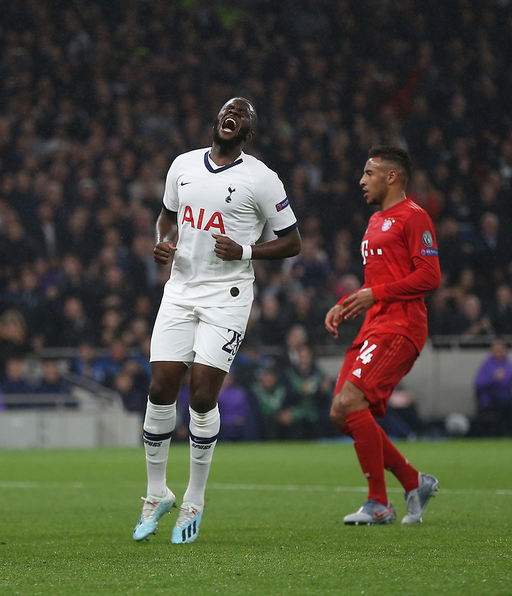 Tottenham Hotspur's Tanguy Ndombele after a near miss<br /> <br /> Photographer Rob Newell/CameraSport<br /> <br /> UEFA Champions League Group B  - Tottenham Hotspur v Bayern Munich - Tuesday 1st October 2019 - White Hart Lane - London<br />  <br /> World Copyright © 2018 CameraSport. All rights reserved. 43 Linden Ave. Countesthorpe. Leicester. England. LE8 5PG - Tel: +44 (0) 116 277 4147 - admin@camerasport.com - www.camerasport.com