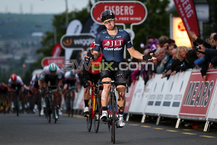 Picture by Alex Whitehead/SWpix.com - 23/05/2017 - Cycling - Tour Series Round 7, Motherwell - JLT Condor's Brenton Jones celebrates the win.