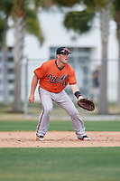 Baltimore Orioles Seamus Curran (11) during a Minor League Spring Training game against the Boston Red Sox on March 20, 2018 at Buck O'Neil Complex in Sarasota, Florida.  (Mike Janes/Four Seam Images)