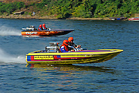 "Ken Warby ""Chaparral"" (racing flatbottom ski boat) and ""Tiger"" (racing flatbottom ski boat)."