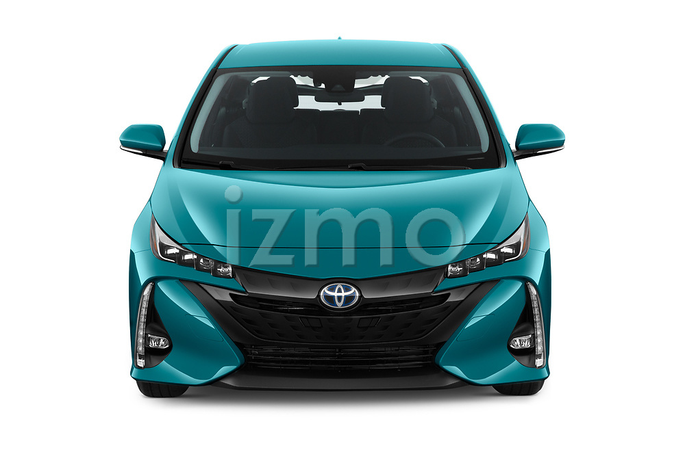 Car photography straight front view of a 2019 Toyota Prius-Plug-in-Hybride Comfort 5 Door Hatchback Front View