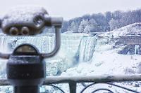 Winter tourist view of the US falls at Niagara