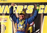 Feb 14, 2016; Pomona, CA, USA; NHRA funny car driver Ron Capps celebrates after winning the Winternationals at Auto Club Raceway at Pomona. Mandatory Credit: Mark J. Rebilas-USA TODAY Sports