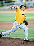 Amarillo Sox Pitcher Matt Elliott (16) in action during the American Association of Independant Professional Baseball game between the Amarillo Sox and the Fort Worth Cats at the historic LaGrave Baseball Field in Fort Worth, Tx. Fort Worth defeats Amarillo 5 to 3.