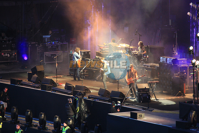 Kings of Leon perform on stage at Slane Castle to a sell out crowd of 80,000 fans.Picture Fran Caffrey/www.newsfile.ie