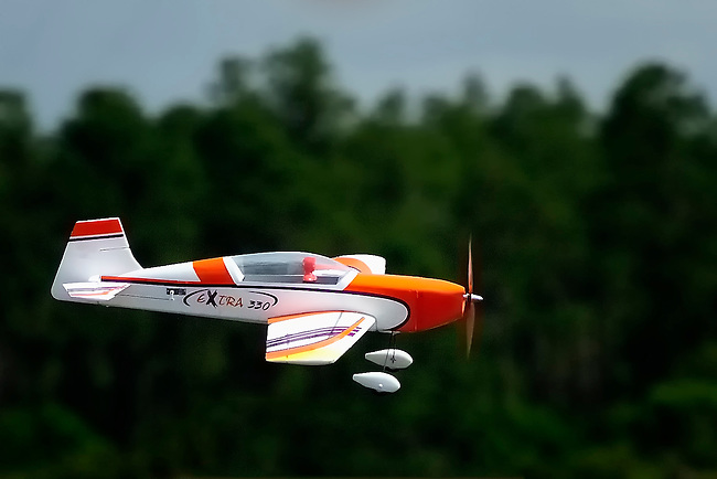 Model aircraft flying past pine trees