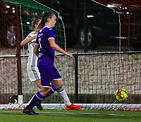 20190920 – LEUVEN, BELGIUM : RSC Anderlecht's Tine De Caigny is  pictured scoring her second goal during a women soccer game between Dames Oud Heverlee Leuven A and RSC Anderlecht Ladies on the fourth matchday of the Belgian Superleague season 2019-2020 , the Belgian women's football  top division , friday 20 th September 2019 at the Stadion Oud-Heverlee Korbeekdam in Oud Heverlee  , Belgium  .  PHOTO SPORTPIX.BE   SEVIL OKTEM