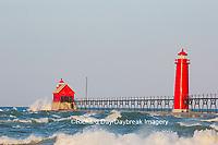 64795-01210 Grand Haven South Pier Lighthouse at sunrise on Lake Michigan, Ottawa County, Grand Haven, MI