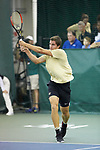 Borna Gojo of the Wake Forest Demon Deacons returns the ball during the finals of the 2018 NCAA Men's Tennis Singles Championship at the Wake Forest Indoor Tennis Center on May 28, 2018 in Winston-Salem, North Carolina.  Petros Chrysochos defeated teammate Borna Gojo 6-3 6-3.  (Brian Westerholt/Sports On Film)