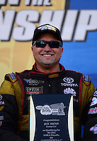 Sept. 14, 2012; Concord, NC, USA: NHRA funny car driver Jeff Arend during qualifying for the O'Reilly Auto Parts Nationals at zMax Dragway. Mandatory Credit: Mark J. Rebilas-