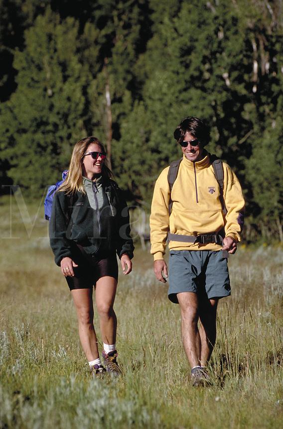 Steve Holmes (MR496) & Holly Issacson (MR431) hiking, Summit County, CO. Steve Holmes (MR496) & Holly Issacson (MR431). Summit County, Colorado.