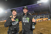 Ryan Sanderson and Adam Bailey<br /> 2018 SX Open - Auckland / SX 1<br /> FIM Oceania Supercross Championships<br /> Mt Smart Stadium / Auckland NZ<br /> Saturday Nov 24th 2018<br /> © Sport the library/ Jeff Crow / AME