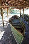 A historic wooden boat on display at Zane Grey's writing cabin.