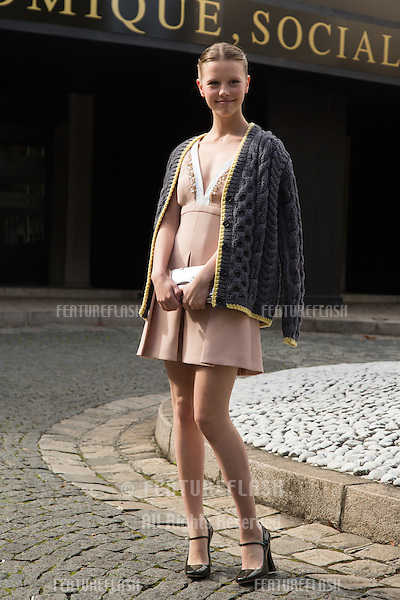 Mia Goth attend Miu Miu Show Front Row - Paris Fashion Week  2016.<br /> October 7, 2015 Paris, France<br /> Picture: Kristina Afanasyeva / Featureflash