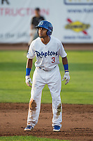 Deion Ulmer (3) of the Ogden Raptors takes his lead off of second base against the Grand Junction Rockies at Lindquist Field on July 6, 2015 in Ogden, Utah.Ogden defeated Grand Junction 8-7. (Stephen Smith/Four Seam Images)