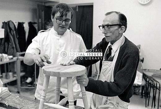 Elderly man doing woodwork, Nottingham UK 1991
