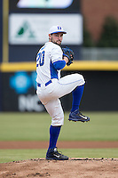 Duke Blue Devils starting pitcher Trent Swart (20) in action against the California Golden Bears at Durham Bulls Athletic Park on February 20, 2016 in Durham, North Carolina.  The Blue Devils defeated the Golden Bears 6-5 in 10 innings.  (Brian Westerholt/Four Seam Images)