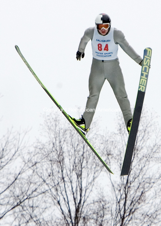 SALISBURY CT. 08 February 2014-020914SV15-#84 Luke Daniels makes a jump during the Eastern United States Ski Jumping Championships in Salisbury Sunday.<br /> Steven Valenti Republican-American