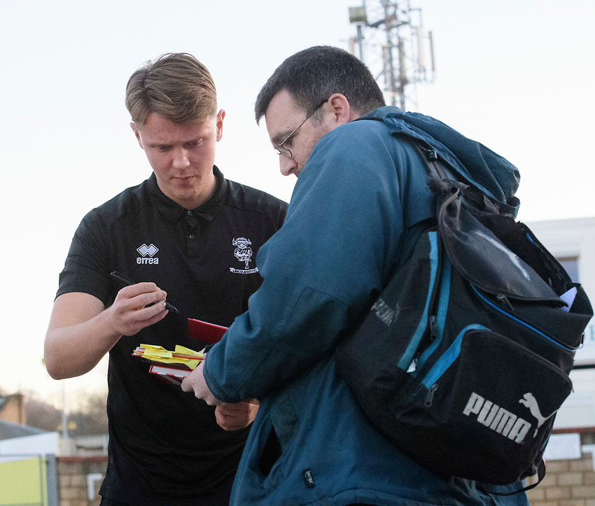 Lincoln City's Mark O'Hara signs autographs for fans after arriving at the ground<br /> <br /> Photographer Chris Vaughan/CameraSport<br /> <br /> The EFL Sky Bet League Two - Lincoln City v Exeter City - Tuesday 26th February 2019 - Sincil Bank - Lincoln<br /> <br /> World Copyright © 2019 CameraSport. All rights reserved. 43 Linden Ave. Countesthorpe. Leicester. England. LE8 5PG - Tel: +44 (0) 116 277 4147 - admin@camerasport.com - www.camerasport.com