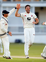Grant Stewart celebrates after bowling Max Holden during the County Championship Division 2 game between Kent and Middlesex at the St Lawrence Ground, Canterbury, on June 25, 2018